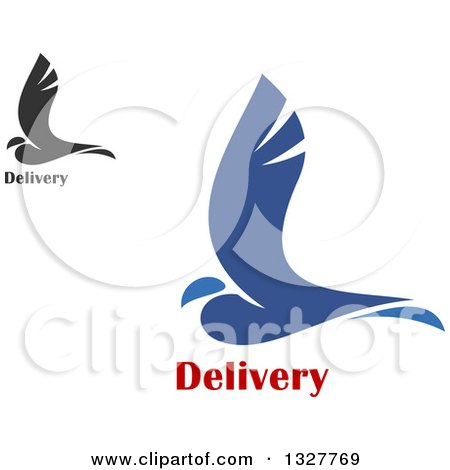 Clipart of Blue and Gray Birds with Delivery Text - Royalty Free Vector Illustration by Vector Tradition SM