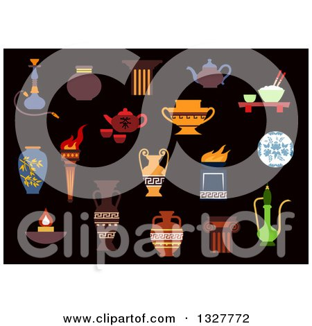 Clipart of a Flat Design Ancient Torch, Stone Fire Bowls, Amphoras, Copper and Ceramic Teapots, Oil Lamp, Hookah Pipe, Tea Services, Vases, Jug and Plates - Royalty Free Vector Illustration by Vector Tradition SM