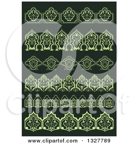 Clipart of Green Floral Decorative Arabesque Borders on Dark Green - Royalty Free Vector Illustration by Vector Tradition SM