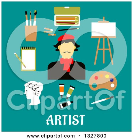 Clipart of a Flat Design French Artist with Utensils over Text on Turquoise - Royalty Free Vector Illustration by Vector Tradition SM