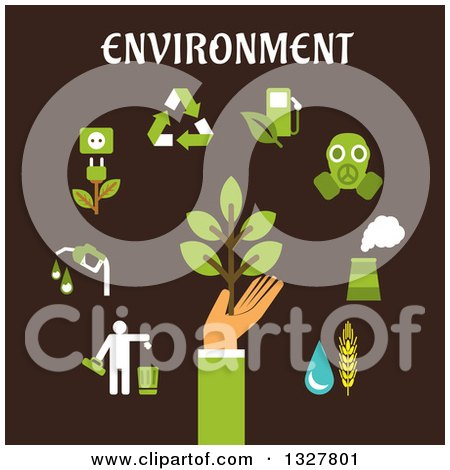 Clipart of a Flat Design Hand Holding Green Tree Surrounded by Bio Fuel, Recycling, Green Energy, Pollution, Industry, Emissions Icons on Brown - Royalty Free Vector Illustration by Vector Tradition SM
