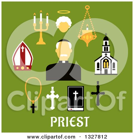 Clipart of a Flat Design Catholic Priest in Black Robe, Clerical Collar and Zucchetto Encircled by Church Building, Crosses, Bible, Mitre, Candelabras and Angel Silhouette - Royalty Free Vector Illustration by Vector Tradition SM