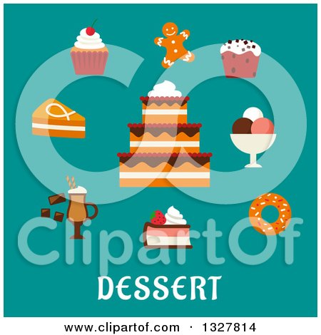 Clipart of a Flat Design Cake and Other Desserts over Text on Turquoise - Royalty Free Vector Illustration by Vector Tradition SM