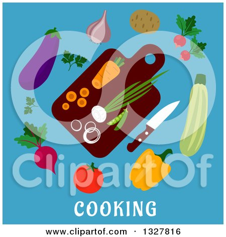 Clipart of a Flat Design Cutting Board with Veggies on Blue with Text - Royalty Free Vector Illustration by Vector Tradition SM