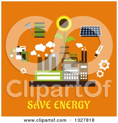 Clipart of a Flat Design Factory Plant Surrounded by Solar Panel, Fluorescent Light Bulb, Sunflower, Gears, Bio Fuel Tanks on Orange - Royalty Free Vector Illustration by Vector Tradition SM