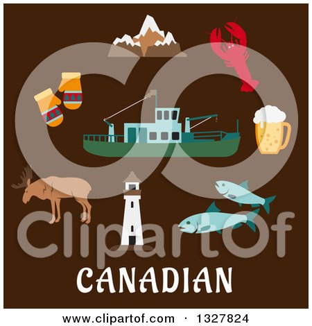 Clipart of a Flat Design of the Rocky Mountains, Lighthouse, Elk, Mittens, Beer Tankard, Lobster, Fish and Fishing Trawler over Canadian Text on Brown - Royalty Free Vector Illustration by Vector Tradition SM