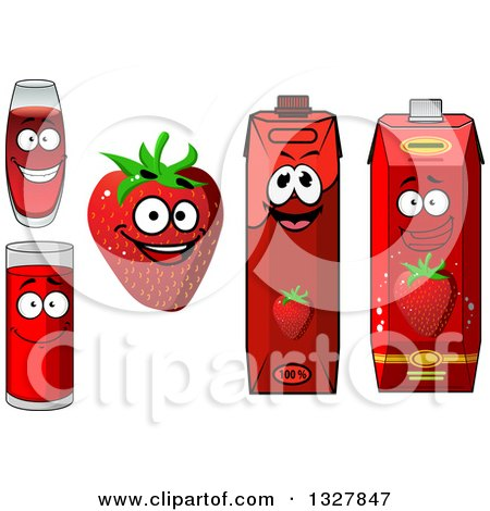Clipart of a Smiling Strawberry Character and Juice 4 - Royalty Free Vector Illustration by Vector Tradition SM