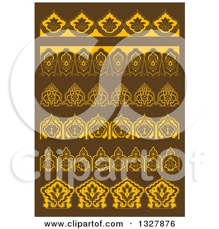 Clipart of Golden Floral Decorative Arabesque Borders on Brown - Royalty Free Vector Illustration by Vector Tradition SM