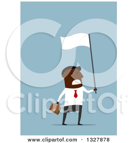 Clipart of a Flat Modern Black Businessman Waving a White Flag in Surrender, over Blue - Royalty Free Vector Illustration by Vector Tradition SM