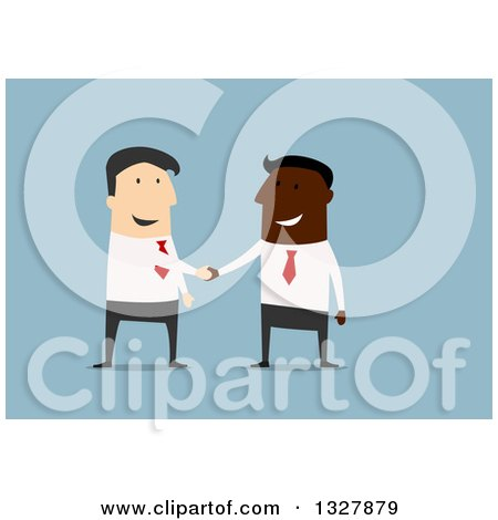 Clipart of a Flat Design of Happy White and Black Business Men Shaking Hands on a Deal, over Blue - Royalty Free Vector Illustration by Vector Tradition SM