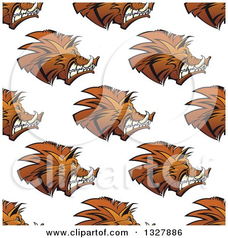 Clipart of a Seamless Background Pattern of Razorback Boar Faces - Royalty Free Vector Illustration by Vector Tradition SM