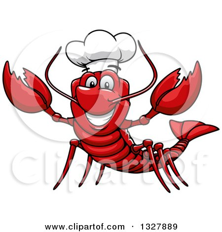 Clipart of a Cartoon Welcoming Lobster Chef - Royalty Free Vector Illustration by Vector Tradition SM