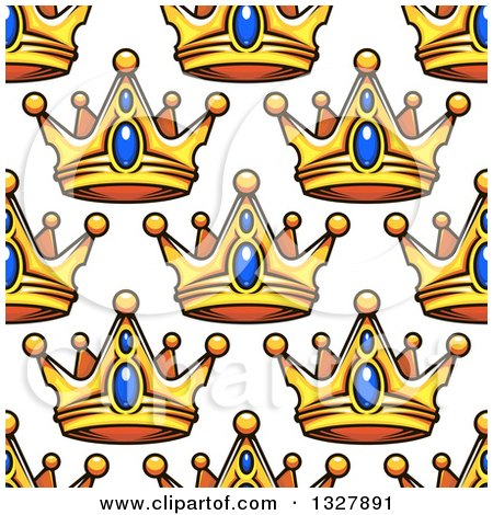 Clipart of a Seamless Patterned Background of Ornate Gold and Sapphire Crowns on White - Royalty Free Vector Illustration by Vector Tradition SM