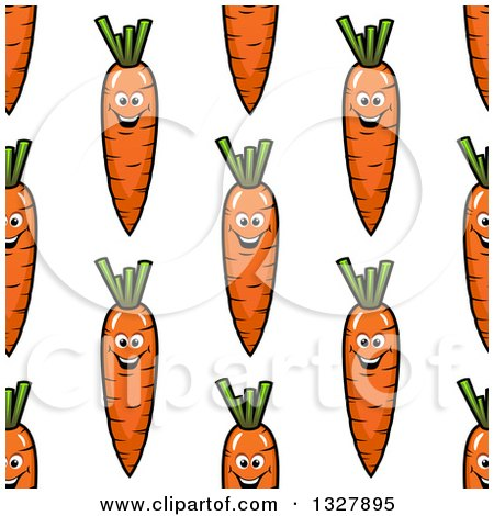 Clipart of a Seamless Background Pattern of Happy Carrots - Royalty Free Vector Illustration by Vector Tradition SM