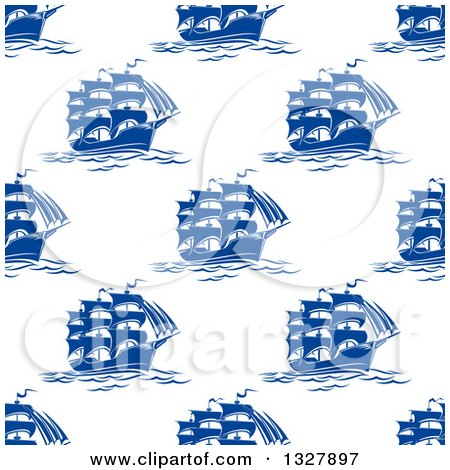 Clipart of a Seamless Patterned Background of Blue Ships 2 - Royalty Free Vector Illustration by Vector Tradition SM