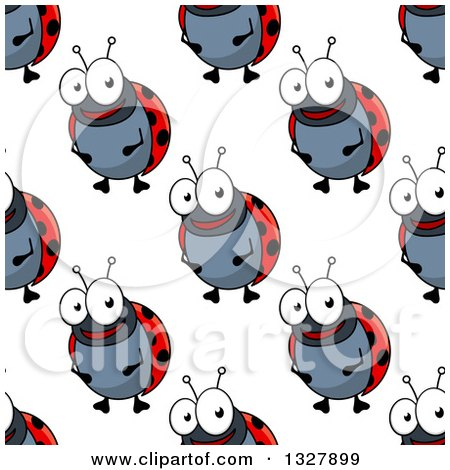 Clipart of a Seamless Background Pattern of Ladybugs 2 - Royalty Free Vector Illustration by Vector Tradition SM
