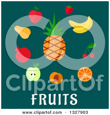 Clipart of a Flat Design Pinepple and Other Fruits over Text on Teal - Royalty Free Vector Illustration by Vector Tradition SM