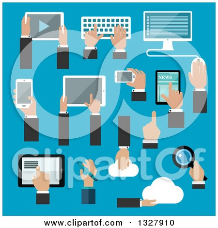 Clipart of Flat Design Hands Using Gadgets over Blue - Royalty Free Vector Illustration by Vector Tradition SM