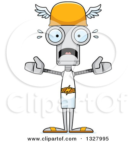 Clipart of a Cartoon Skinny Scared Robot Hermes - Royalty Free Vector Illustration by Cory Thoman