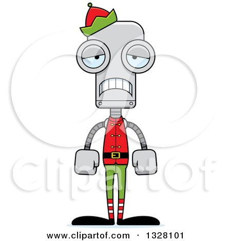 Clipart of a Cartoon Skinny Sad Robot Christmas Elf - Royalty Free Vector Illustration by Cory Thoman