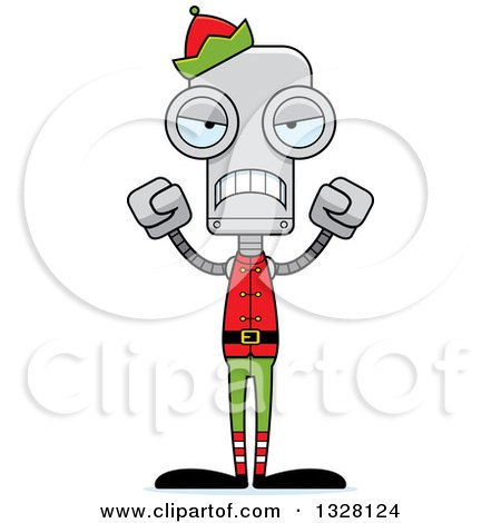 Clipart of a Cartoon Skinny Mad Robot Christmas Elf - Royalty Free Vector Illustration by Cory Thoman