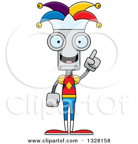 Clipart of a Cartoon Skinny Jester Robot with an Idea - Royalty Free Vector Illustration by Cory Thoman