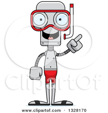 Clipart of a Cartoon Skinny Robot in Snorkel Gear, with an Idea - Royalty Free Vector Illustration by Cory Thoman