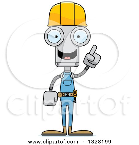 Clipart of a Cartoon Skinny Robot Construction Worker with an Idea - Royalty Free Vector Illustration by Cory Thoman