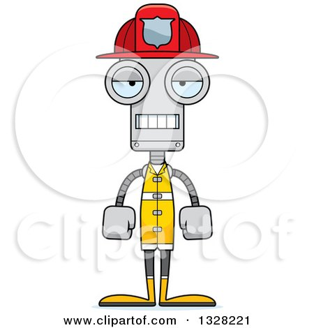 Clipart of a Cartoon Skinny Mad Robot Firefighter - Royalty Free Vector Illustration by Cory Thoman
