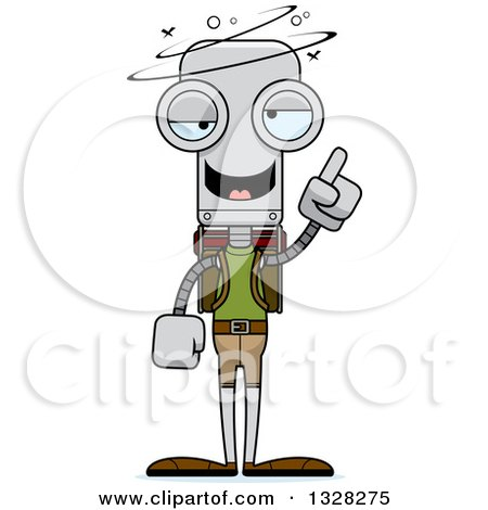 Clipart of a Cartoon Skinny Drunk or Dizzy Robot Hiker - Royalty Free Vector Illustration by Cory Thoman