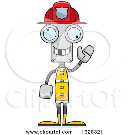 Clipart of a Cartoon Skinny Waving Robot Firefighter with a Missing Tooth - Royalty Free Vector Illustration by Cory Thoman