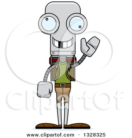 Clipart of a Cartoon Skinny Waving Robot Hiker with a Missing Tooth - Royalty Free Vector Illustration by Cory Thoman
