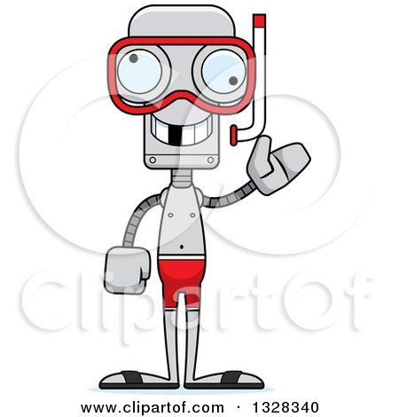 Clipart of a Cartoon Skinny Snorkel Waving Robot with a Missing Tooth - Royalty Free Vector Illustration by Cory Thoman