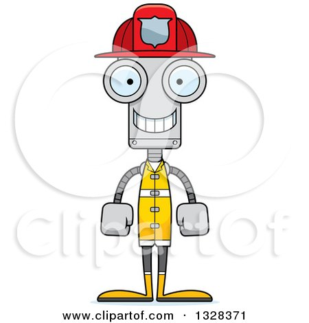 Clipart of a Cartoon Skinny Happy Robot Firefighter - Royalty Free Vector Illustration by Cory Thoman