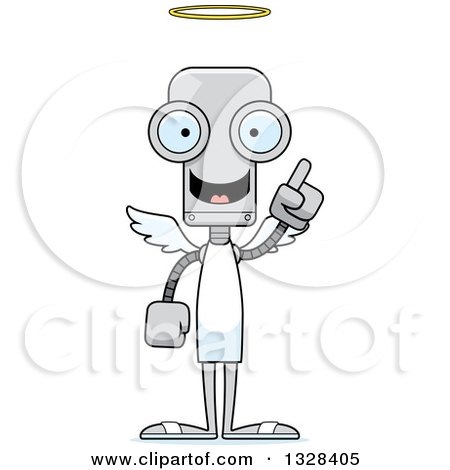Clipart of a Cartoon Skinny Robot Angel with an Idea - Royalty Free Vector Illustration by Cory Thoman