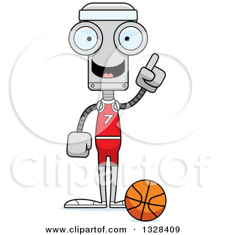 Clipart of a Cartoon Skinny Robot Basketball Player with an Idea - Royalty Free Vector Illustration by Cory Thoman