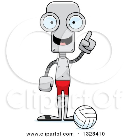 Clipart of a Cartoon Skinny Robot Beach Volleyball Player with an Idea - Royalty Free Vector Illustration by Cory Thoman