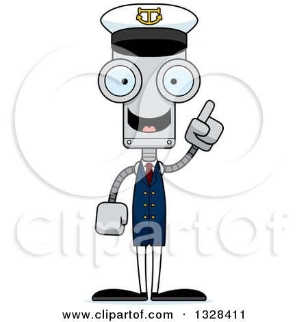 Clipart of a Cartoon Skinny Robot Boat Captain with an Idea - Royalty Free Vector Illustration by Cory Thoman
