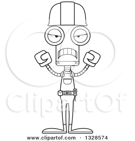 Lineart Clipart of a Cartoon Black and White Skinny Mad Robot Construction Worker - Royalty Free Outline Vector Illustration by Cory Thoman