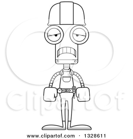 Lineart Clipart of a Cartoon Black and White Skinny Sad Robot Construction Worker - Royalty Free Outline Vector Illustration by Cory Thoman
