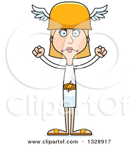 Clipart of a Cartoon Angry Tall Skinny White Hermes Woman - Royalty Free Vector Illustration by Cory Thoman