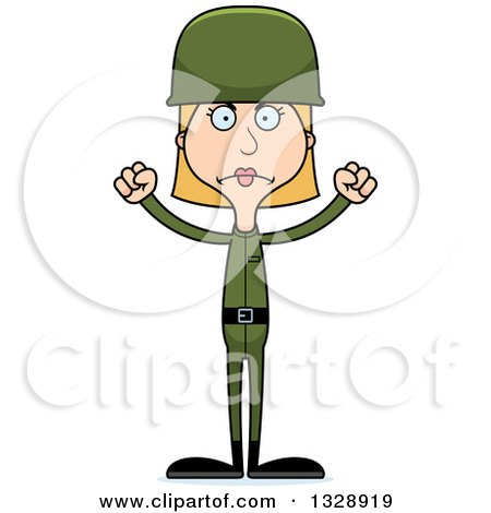 Clipart of a Cartoon Angry Tall Skinny White Army Soldier Woman - Royalty Free Vector Illustration by Cory Thoman