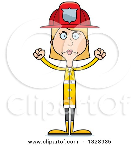 Clipart of a Cartoon Angry Tall Skinny White Woman Firefighter - Royalty Free Vector Illustration by Cory Thoman