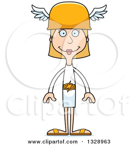 Clipart of a Cartoon Happy Tall Skinny White Hermes Woman - Royalty Free Vector Illustration by Cory Thoman