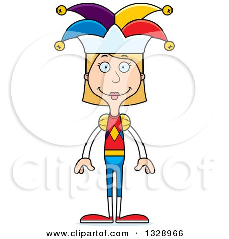 Clipart of a Cartoon Happy Tall Skinny White Woman Jester - Royalty Free Vector Illustration by Cory Thoman