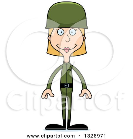 Clipart of a Cartoon Happy Tall Skinny White Army Soldier Woman - Royalty Free Vector Illustration by Cory Thoman