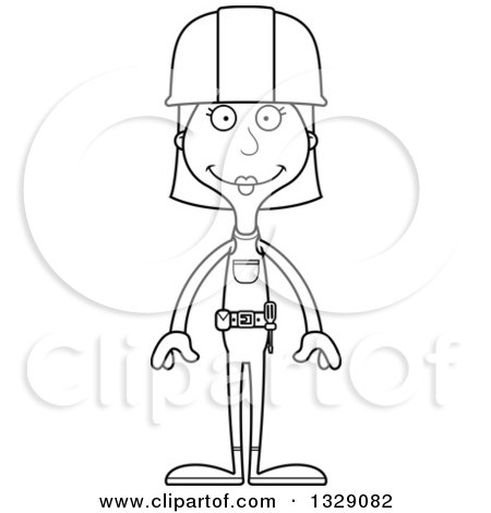 Lineart Clipart of a Cartoon Black and White Happy Tall Skinny White Woman Construction Worker - Royalty Free Outline Vector Illustration by Cory Thoman