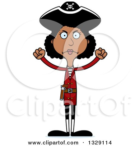Clipart of a Cartoon Angry Tall Skinny Black Woman Pirate - Royalty Free Vector Illustration by Cory Thoman