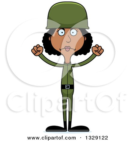 Clipart of a Cartoon Angry Tall Skinny Black Woman Army Soldier - Royalty Free Vector Illustration by Cory Thoman
