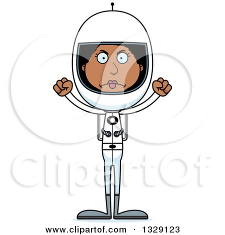 Clipart of a Cartoon Angry Tall Skinny Black Woman Astronaut - Royalty Free Vector Illustration by Cory Thoman